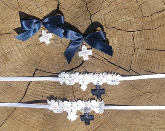 Witness Bracelets, Martirika, Guipure Lace and Lace Cross for Christening (30pcs)