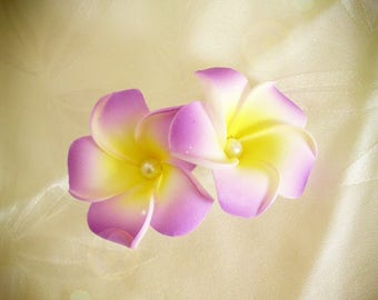 Purple hair barrette clip double plumeria flower