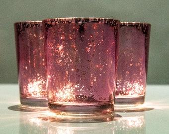 Set of 12 MERCURY GLASS Pink Speckled Glass Candle Holders Votive Holder Led Candleholder Tea Light Wedding 2.5 Winter Christmas