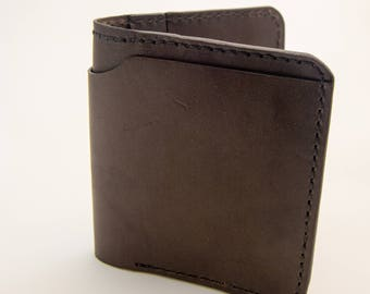 Chocolate Brown Horween Leather Wallet, Billfold, Wallet, International Wallet, Leather Wallet, Unique Thumb Notch Pockets