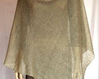 Pure Linen Pancho Cape grey wrap poncho linen grey poncho linen cape light grey Scarf Knit Shawl Modern poncho linen Accessories