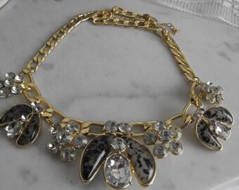 Rhinestone Chain Link Choker Necklace