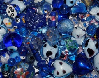 Lot assortment of blue glass Lampwork, Italian beads