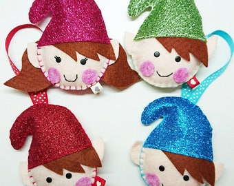 Elf Christmas Decoration, Felt Elf Decoration, Glitter Elf Decoration, Cheeky Elf Decoration, Christmas Tree Decoration
