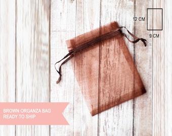 10 x brown small organza bags 9cm x 12cm