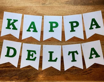 Kappa Delta Banner-  White with Green Glitter Letters - Large