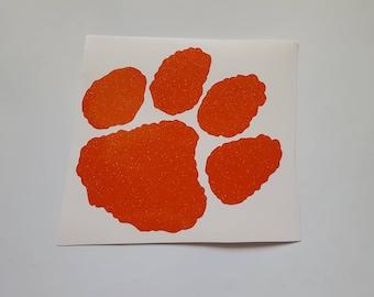 "CLOSEOUT!*  4"" Tiger Paw Print ORANGE Ultra Metallic Vinyl STICKER Stickers  Ready to Ship!"