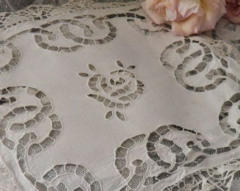 Antique french  tablecloth, handmade embroidery and lace, 1900s