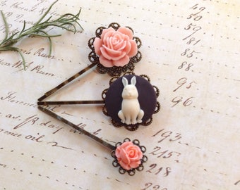 Rabbit And Pink Roses Hair Clips