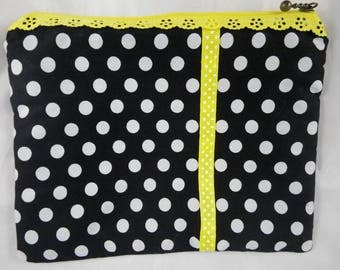Pochette019 - Pouch, black and yellow polka