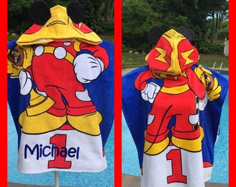 Mickey Mouse Hooded Towel Poncho Bath Beach or Pool Towel - Personalized