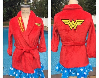 DC Comics Wonder Woman Bath Robe - Personalized Monogrammed Girls Sizes 4 - 10