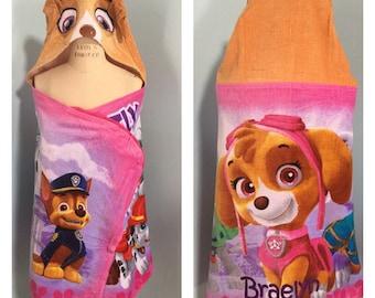 Paw Patrol SKYE Hooded Towel Wrap Bath Beach or Pool Towel - Personalized