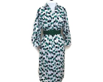 1980s Slim White Shirtwaist Dress with Green and Black Flowers S