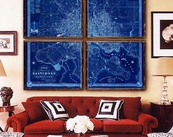 """Map of Baltimore 1851, Baltimore map in 6 sizes up to 72x60"""" in 1 or 4 parts Baltimore, Maryland - Limited Edition of 100"""