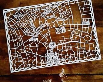 Paper cut Map, Custom Love Map, Personalised Map Art, Wedding Map, Engagement Map,  Hand cut map, Personalised Map Art, Bespoke Map Art