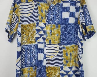 Vintage Lancel Paris abstract patern button down colourfull shirt
