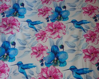 Hummingbirds french terry fabric