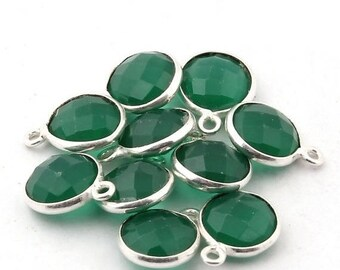 Valentine Day 10 Pcs Green Onyx 925 silver  Plated Pendant--Green Onyx  faceted Round Pendant 14mm BC-006