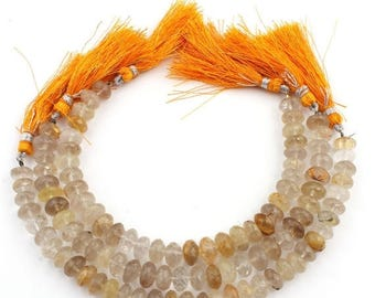 Valentines Day 3 Strands Golden Rutile Faceted Rondelles Beads -  Golden Rutile Faceted Roundelle  9mm-10mm 8 Inches SB905