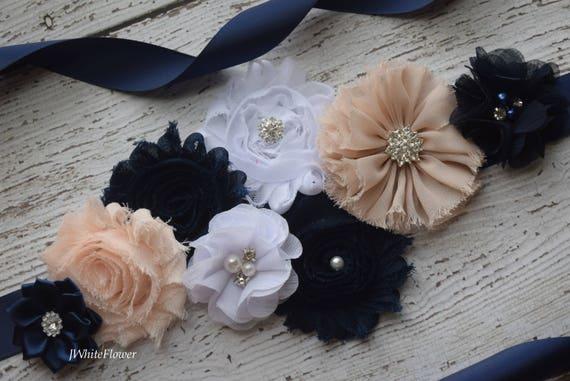 Flower Sash,  tan blush navy white Sash , flower Belt, maternity sash, blue sash
