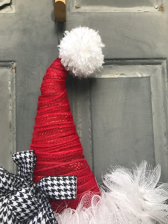 Santa Hat Wreath Santa Hat Door Hanger Santa Wreath
