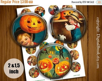 SALE 50% Vintage Halloween Digital Collage Sheet 2 inch 1.5 inch Printable circle images for Pocket Mirrors Magnets Labels - 242