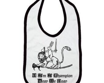 You're Gonna Hear Me Roar Medieval Bunny Champion Knight Bib