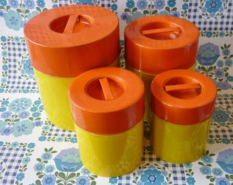 Set Of Four Orange And Yellow Tin Nesting Canisters