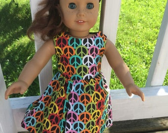 Handmade Peace sign sundress for American Girl dolls
