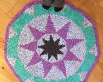 Star crocheted rug-tapestry crochet