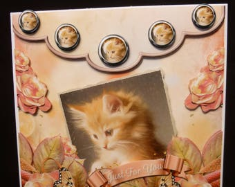 Hand-crafted Beautiful Ginger Kitten 3d Decoupage Card  - Made in UK - Just For You Card, Happy Birthday Card, Best Wishes Card