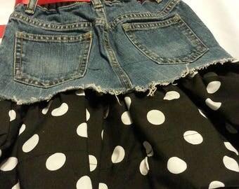 Girls denim skirt with polka dot bottom