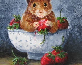original hamster art / mouse art, gerbil art, humor, acrylic hamster and strawberry still-life with a twist, kitchen wall art, kitchen decor