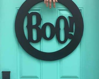 Black Boo! door wreath / Halloween door sign