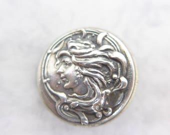 Antique Art Nouveau Birmingham Silver Lady Face Button - Marked Silver Button