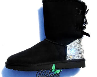 SALE !! Blinged Toddler / Girls' Bailey Bow Ugg Boots w/ Swarovski Crystals