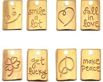 DQ Metal Pendant slogan-4 pcs.-Silver plated or gold plated-15.5 x 10 mm-Zamak (colour: Gold)
