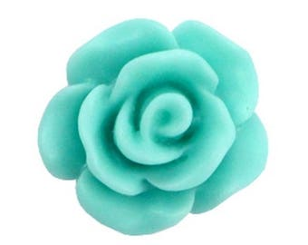 Rose beads, acrylic beads, plastic beads-matt-10 pcs.-Color selectable (colour: turquoise Green)