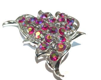Sarah Coventry Vintage Pink Aurora Borealis Brooch,Silver Leaf Pin,Rhinestone Brooch,1940's Silver Tone,Designer Marked,Vintage Pendant