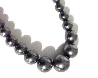 Vintage Charcoal Glass Bead Pearl Necklace,Graduated Bead Choker,Vintage Beaded Necklace