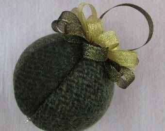 Harris Tweed Olive Green Luxury Christmas Tree Bauble   #108