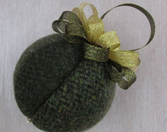 Harris Tweed Olive Green Luxury Christmas Tree Bauble   #108