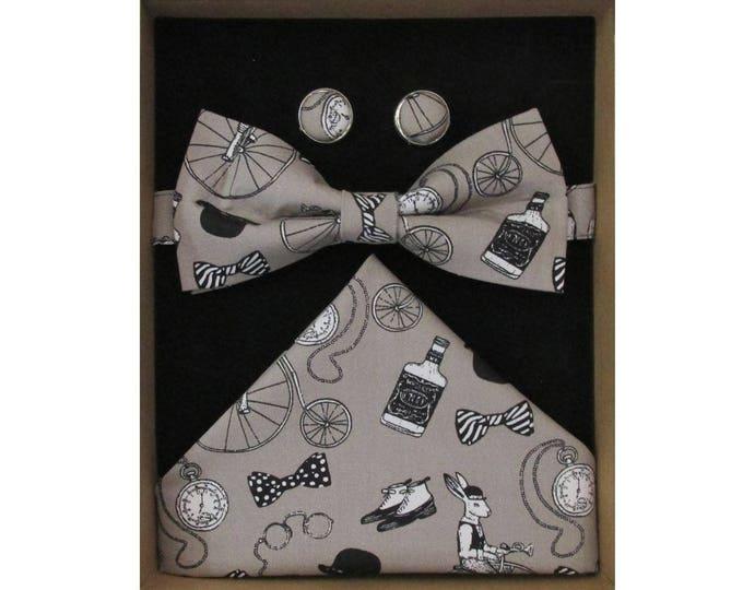 Gentlemens Club Stone Bow Tie Cufflink and Handkerchief Boxed Gift Set