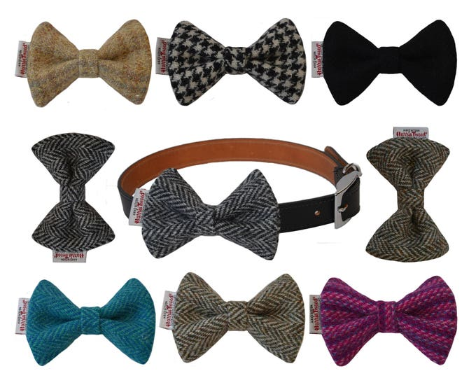 Genuine Harris Tweed Designer Dog Bow Tie
