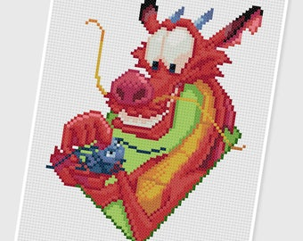 PDF Cross Stitch pattern - 0069.Mushu & Criquet - INSTANT DOWNLOAD