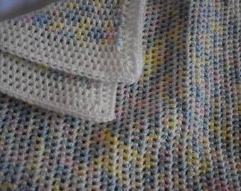 Soft Pastel Crochet Baby Blanket In Pink, Blue, Yellow, & Green