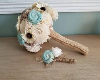 Wedding Bouquet, Sola Flower Bouquet, Turquoise-Tan-Ivory bouquet, Keepsake Bouquet, Burlap bouquet, Sola Flowers, Mint wedding bouquet