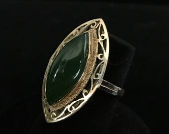 Vintage 14K Yellow Gold Custom made Ring set with a Marquise shape Jade -Ring Sz 5.5