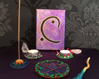 Energy Moon Glyph Painting, pagan wall art, wiccan wall decor
